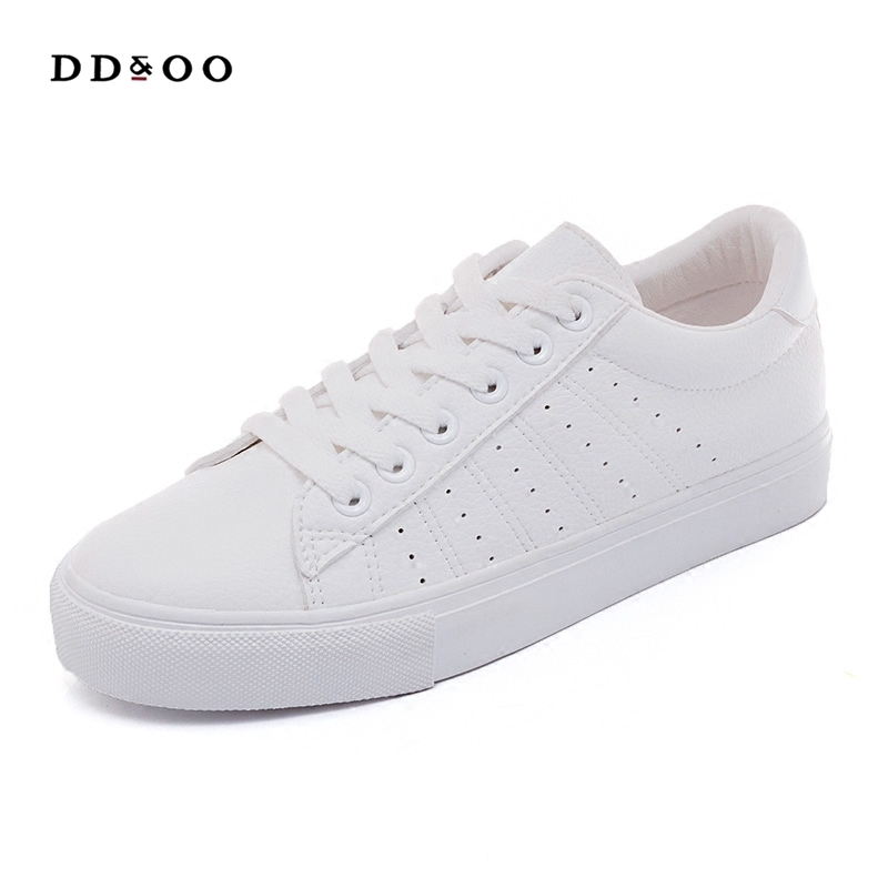 2018 new women's shoes spring summer fashion white sneakers women leather women vulcanized shoes flats breathable solid color m genreal 2017 new women white shoes all match summer breathable leather shoes vulcanized casual shoes candy color lace 35 39