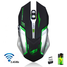 лучшая цена 2400DPI 6 Buttons 2.4GHz Rechargeable Wireless Mouse Optical Wireless Mice Silent Button Mouse for Pro Gamer PC Laptop Desktop