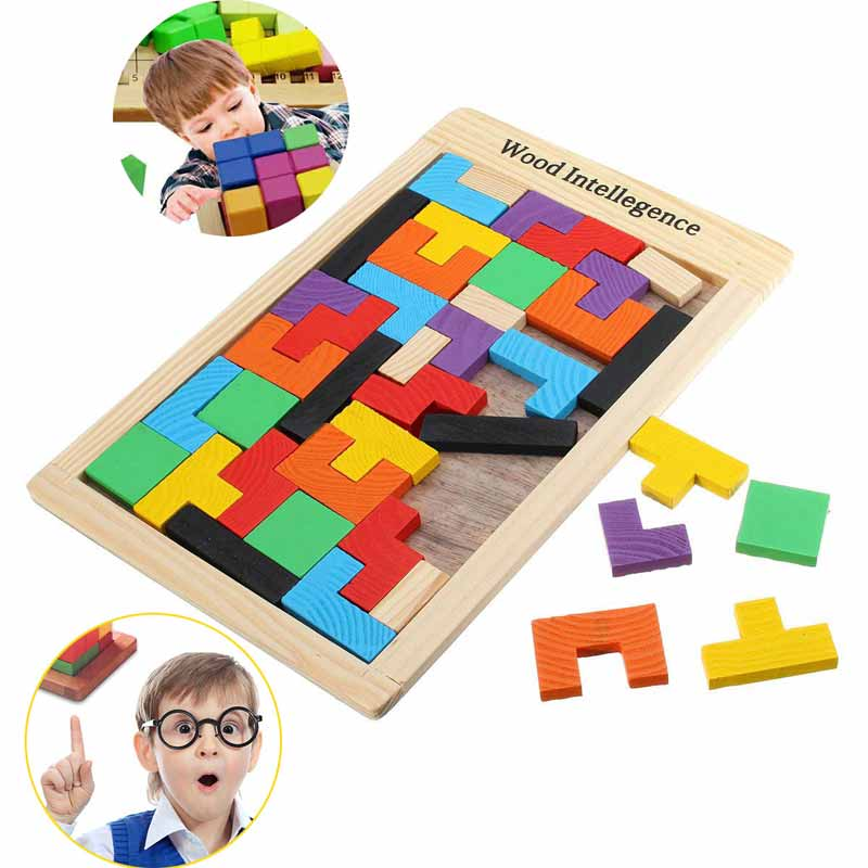 Colorful Wooden Tangram Brain Teaser Puzzle Toys Tetris Game Preschool Magination Intellectual Educational Kid Toy Gift FJ8 metal puzzle iq mind brain game teaser square educational toy gift for children adult kid game toy