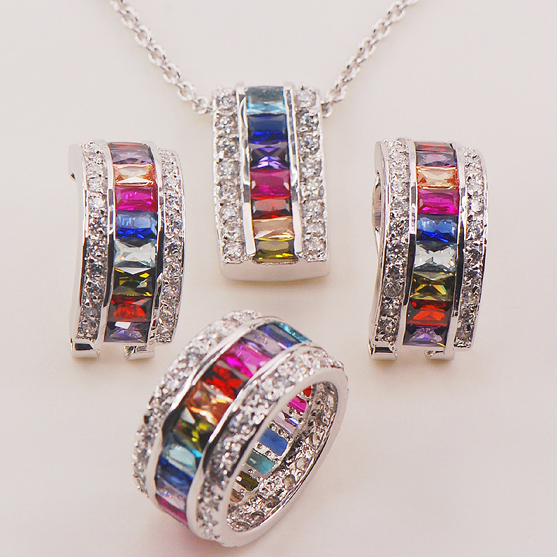 Morganite Blue Crystal Zircon Garnet 925 Sterling Silver Jewelry Set Pendant Earrings Ring morganite garnet purple green crystal zircon multi color follower 925 sterling silver ring size 6 12