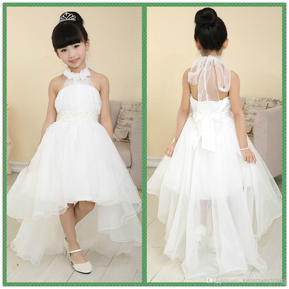 New Halter Tulle High Low Beading Springsummer Beach Flower Girl