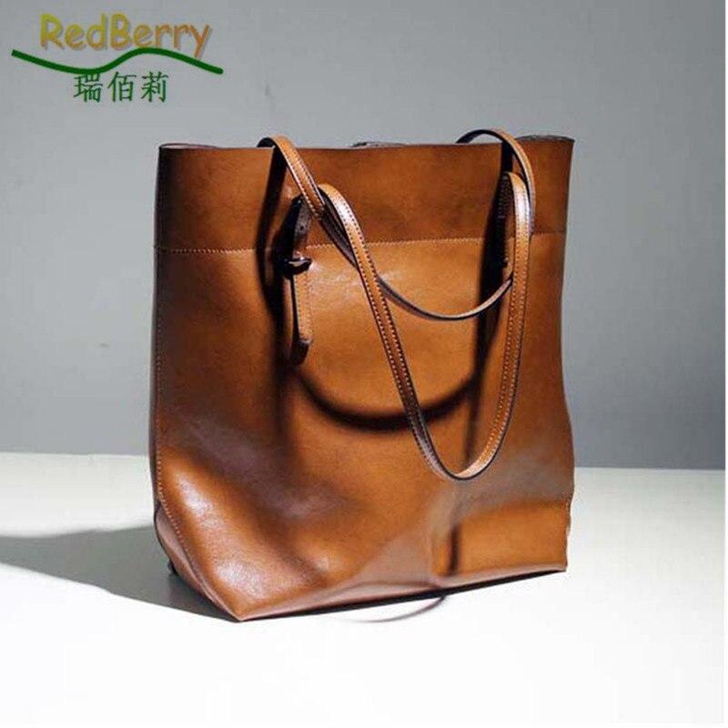 Hot! Genuine Leather Ladies Bag New Style Oil Wax Women Handbag Fashion 2015 Women Leather Handbag Joker Shoulder Bag <font><b>Big</b></font> Tote