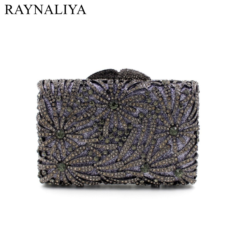 Women Fashion Gold Family Tree Pattern Hollow Style Crystal Floral Evening Bag Clutch Party Wedding Bridal Purse SMYZH-E0278