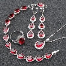 Red Garnet White Topaz 925 Sterling Silver Jewelry Sets For Women Bracelet/Earrings/Pendant/Necklace/Rings Free Gift Box