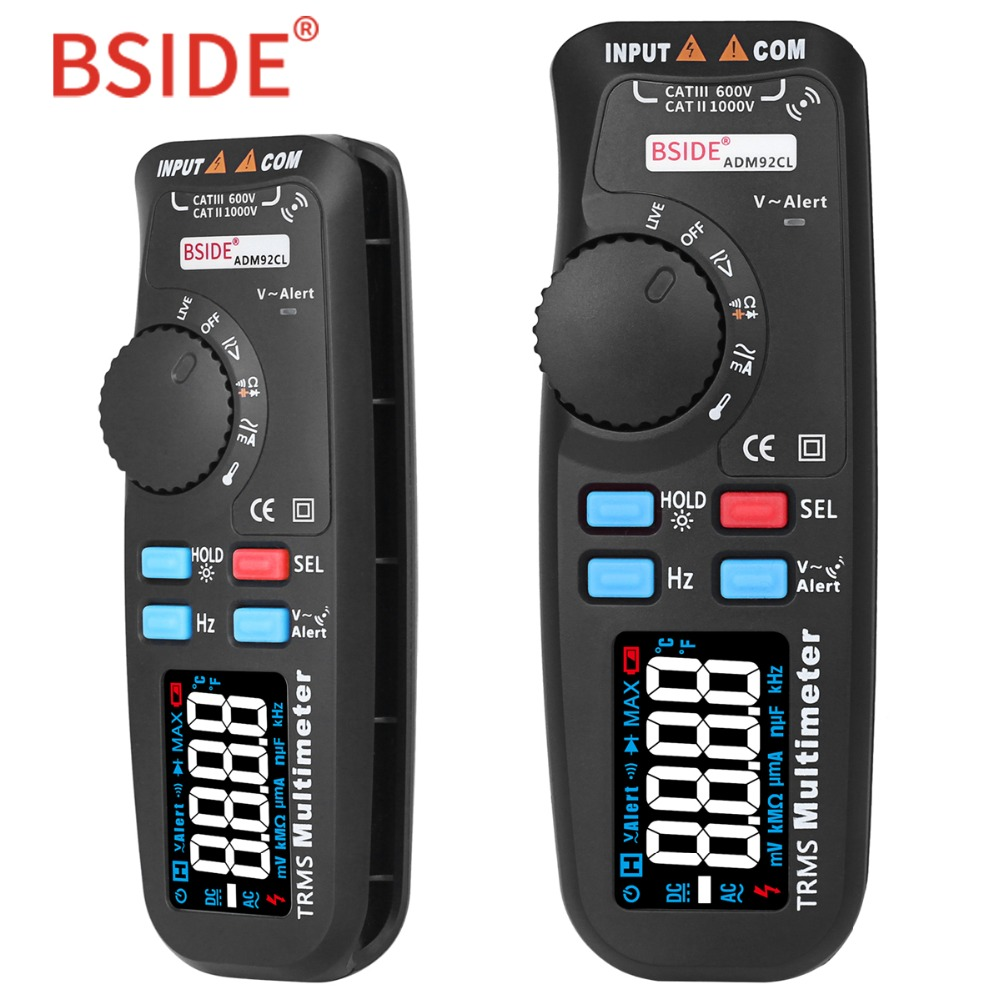 BSIDE ADM92CL Vrai RMS Multimètre Numérique Écran Couleur Auto Gamme 6000 TRMS Testeur avec Live Wire Vérifier Temp Hz ohm diode Compteur