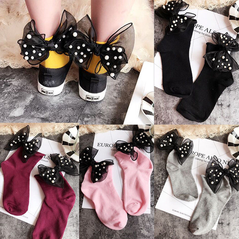 Newest Arrivals Fashion Hot Women Fashion Ladies Warm Girls Thick Cotton Bow Socks Blend Soft Pearl Sock INS HOT