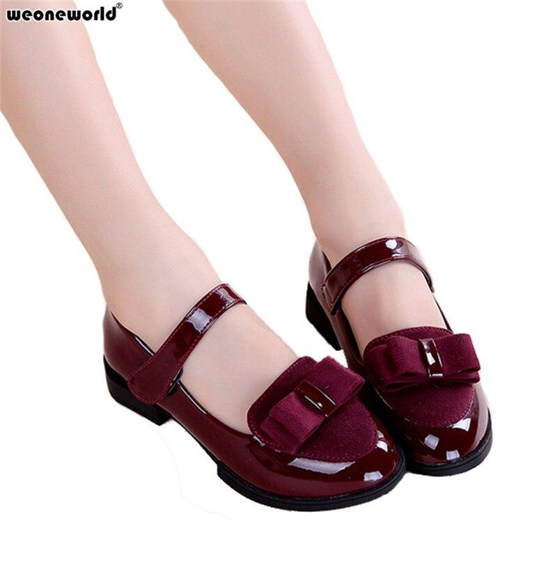 weoneworld партии обувь для девочек новая мода 2017 детские дети дети платье девушка принцесса кожаная обувь весна осень размер 27 ~ 37