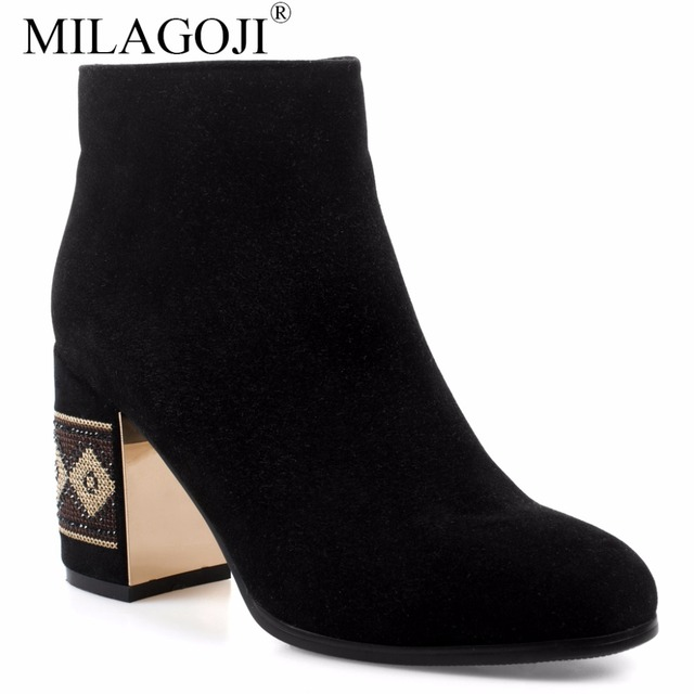 40227e33108 Traditional Striped Pattern High Heel Sheep Suede Ankle Boots MILAGOJI  Natual Leather Plush & Wool Women's Winter Platform Shoes