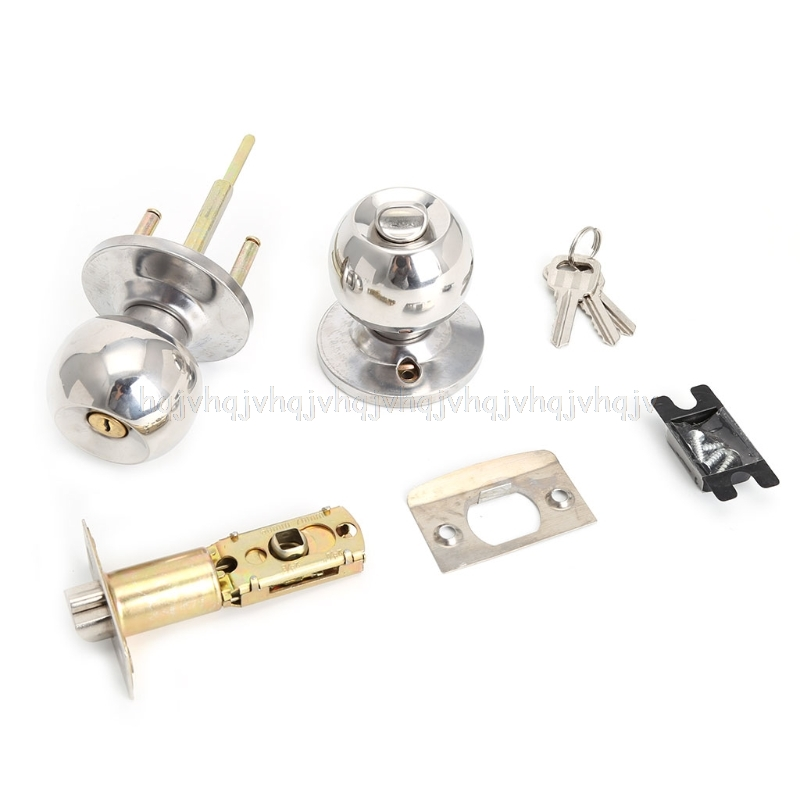 Stainless Steel Round Ball Door Knobs Handle Passage Entrance Lock Entry with 3 Keys JUL04 цены