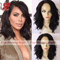 Hot Style! Side Part Natural Wave Short Synthetic Wigs For Black Women Black Color Heat Resistant Short Wavy Lace Front Wig
