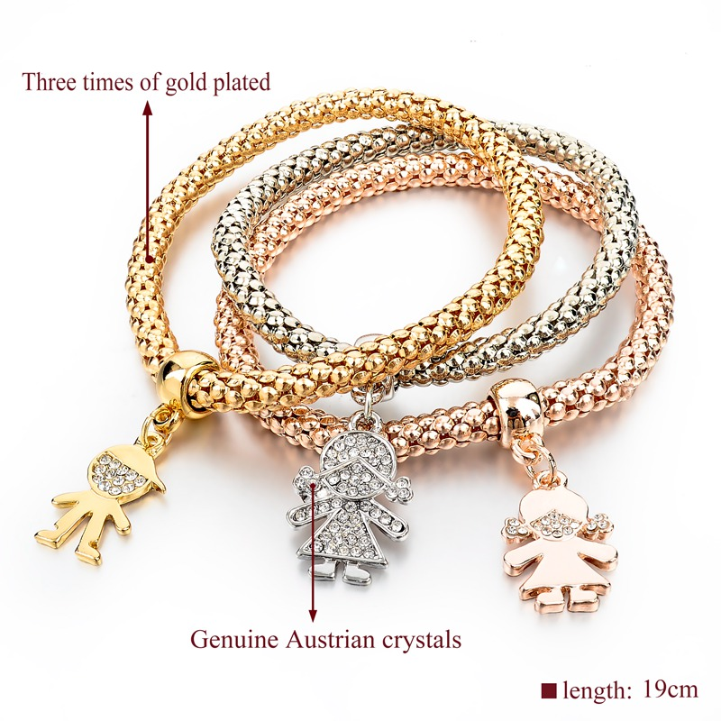 Szelam 3pcs S Charm Bracelets Bangles Gold Silver Plated Friendship Pendant Bracelet Pulseira Feminina Sbr150192 In From