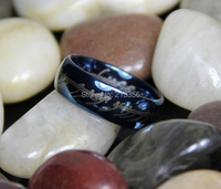 FREE SHIPPING USA WHOLESALE CHEAP PRICE BRAZIL RUSSIA CANADA UK HOT SALES 6/8MM THE LORD OF RING BLUE MENS TUNGSTEN WEDDING RING