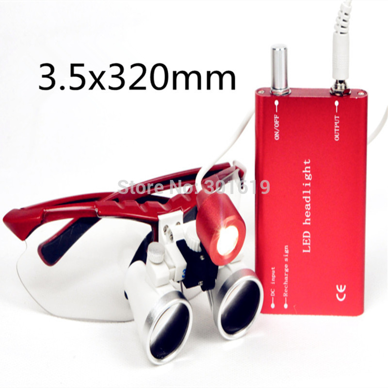 Dental Dentist Surgical Medical Binocular Loupes 3.5X 320mm Optical Glass Loupe+LED Head Light Lamp red 100% new!!! spark 2 5x magnification dentist surgical medical binocular dental loupes with comfortable headband and mounted led head light