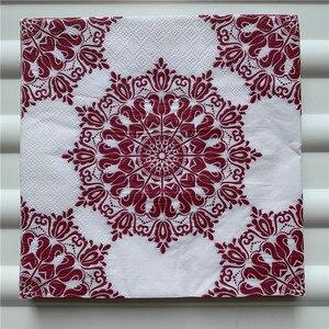 Image 2 - 20 Vintage Khăn Ăn giấy sang trọng mô khăn tay đỏ vàng xanh lá hoa tím decoupage servilletas tiệc cưới trang trí nhà