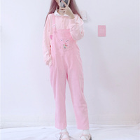 Spring Fashion Corduroy Rompers Womens Japanese kawaii Cartoon Bib Pockets Pink Overalls Cute Casual Jumpsuit Vintage Pants