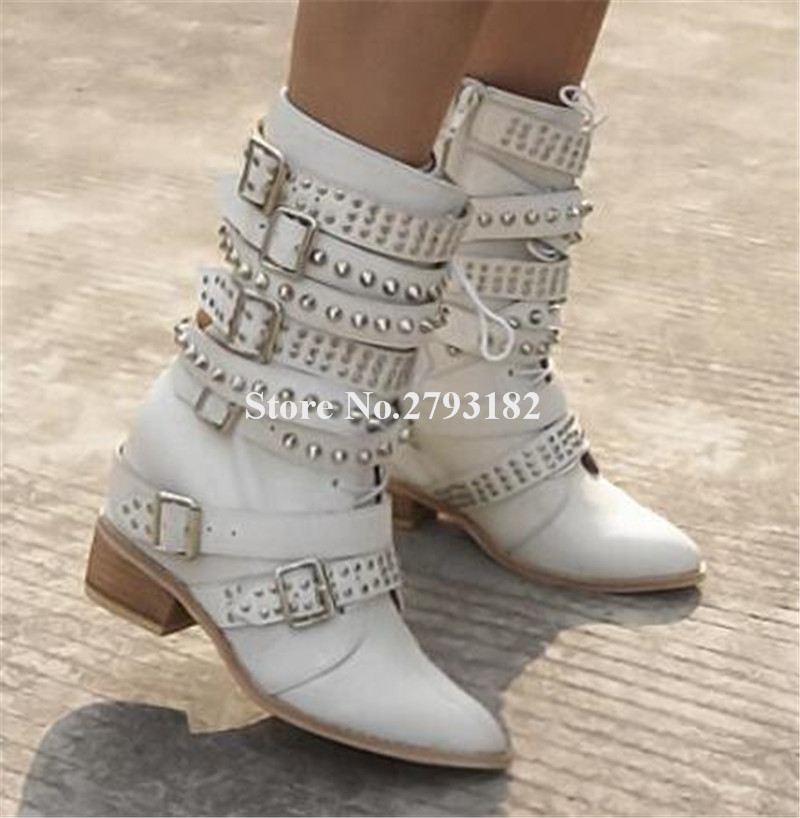 f953157c8472 New Fashion Women Winter Pointed Toe White Buckle Design Short Inside Wedge Boots  Lace-up Rivet Height Increasing Ankle Boots