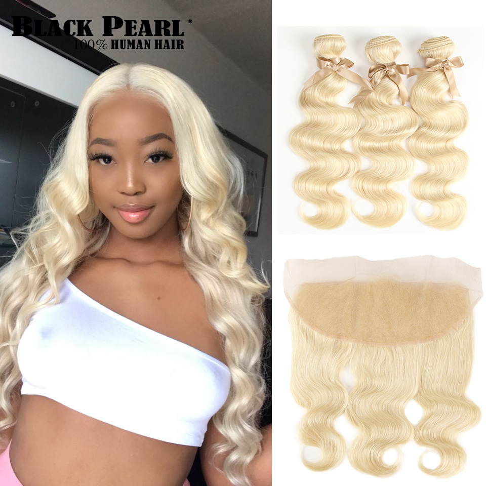 Black Pearl 613  Bundles With Frontal Brazilian Body Wave 613 Remy Human Hair Extensions 2 3 Bundles Blonde Bundles With Frontal