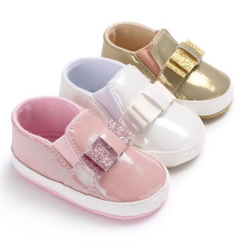 Baby Girls PVC Glitter Crib Shoes Newborn Toddler Pink White Soft Sole Bling Sneakers An ...