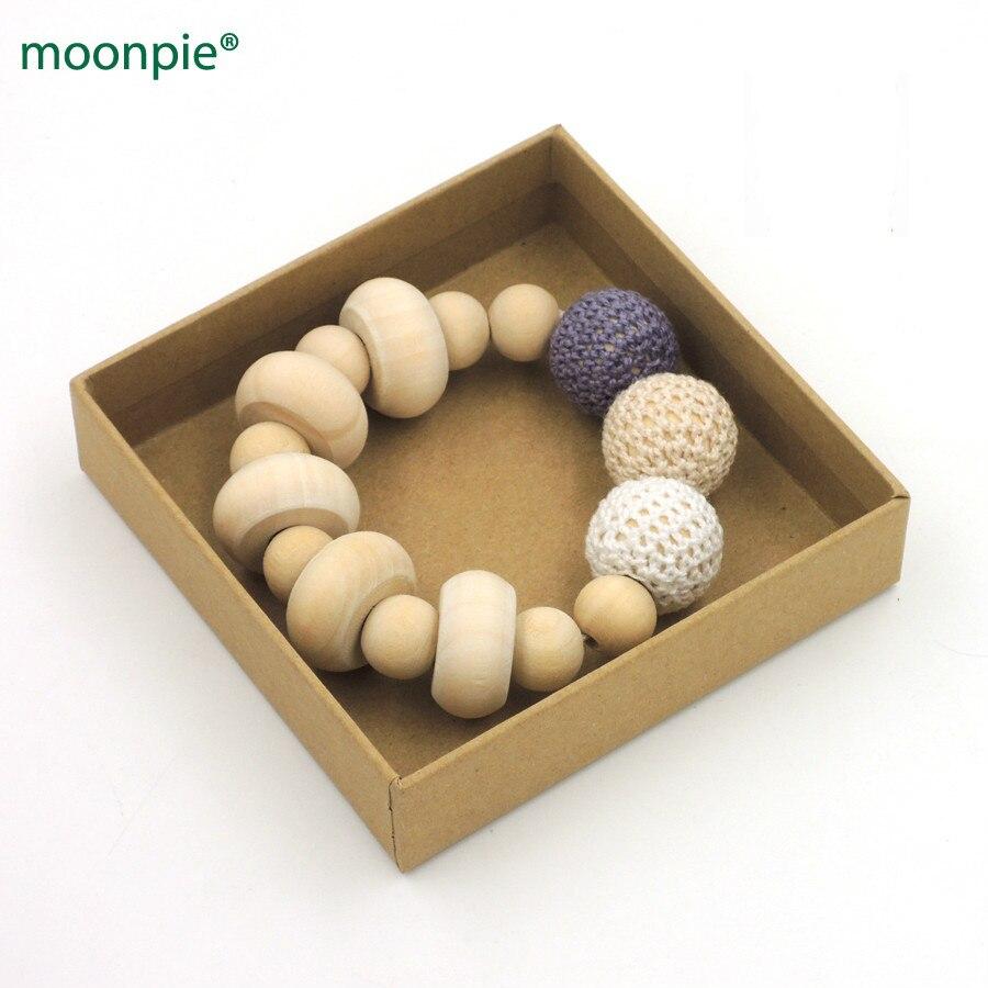 √Chunky crochet enfermería juguete, cuentas de madera natural bebé ...