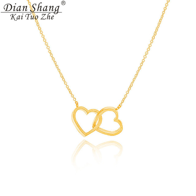 DIANSHANGKAITUOZHE Women's Jewelry Gargantilha Double Lariat Heart Pendant Women Necklace Gold Stainless Steel Chains 10pcs