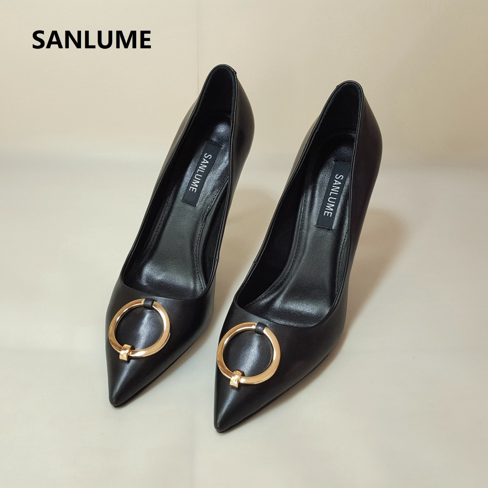 SANLUME 2018 New style Spring Women Genuine leather High heels Black pointed Pumps 10cm Wedding Party Shoes gold heels Size 40