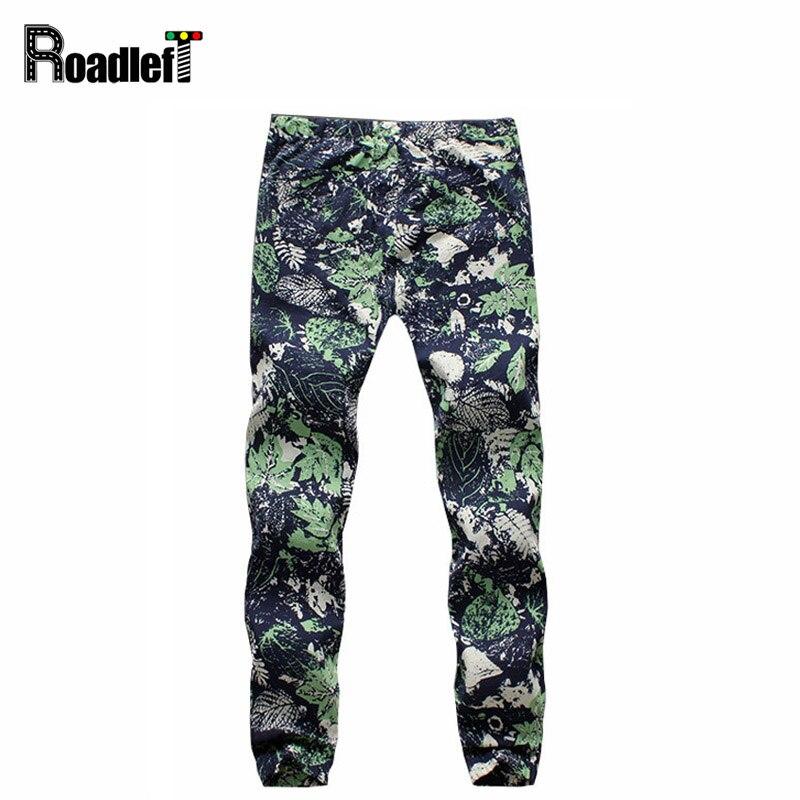 Мужская небольшой цветочный узор белье брюки мужчины хип-хоп шаровары мужчин случайные брюки тощие бегунов штаны