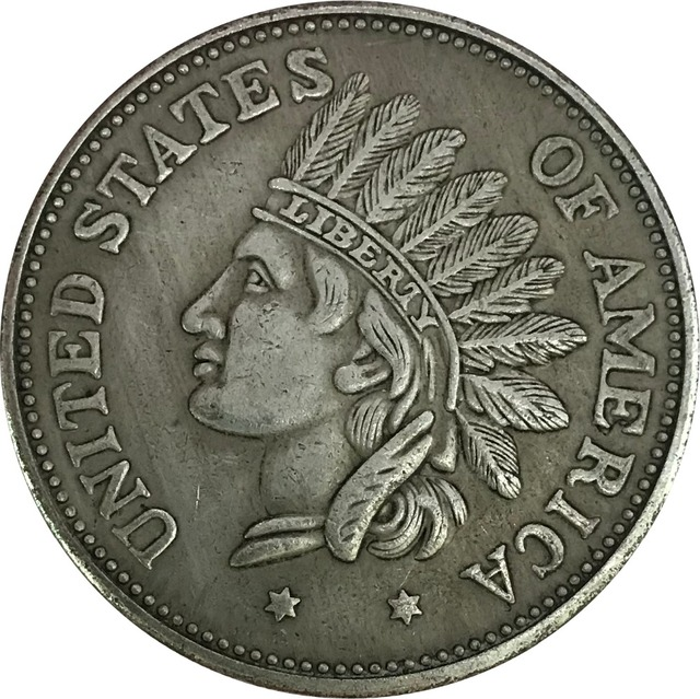 United States Of America 1 One Dollar Indian Head Token 1851 Br Silver Plated Copy Coins