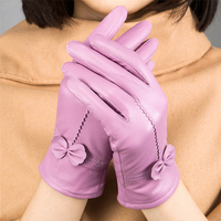 Yrrety 2018新しいファッション女性暖かい本物のシープスキン手袋手首レース弓固体女性革熱フェイクラビットファー手袋