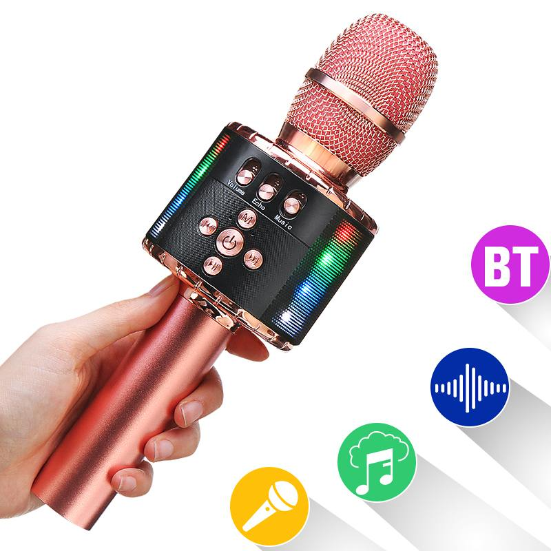 bluetooth Wireless Handheld Microphone Speaker Professional Microphone Music Player Singing Recorder Mic for KTV Party Karaoke