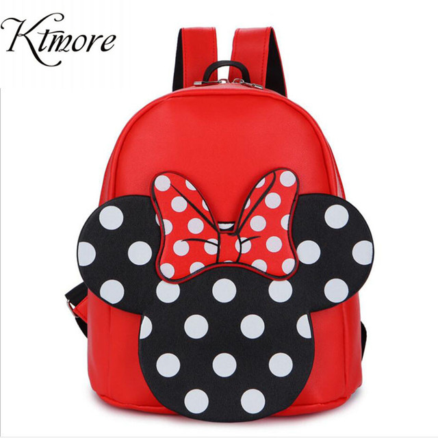 e67efc8eb24 Mickey Minnie Backpack Pu Leather Female Bag Women S Sweet Bow Teen Girls Backpacks  School