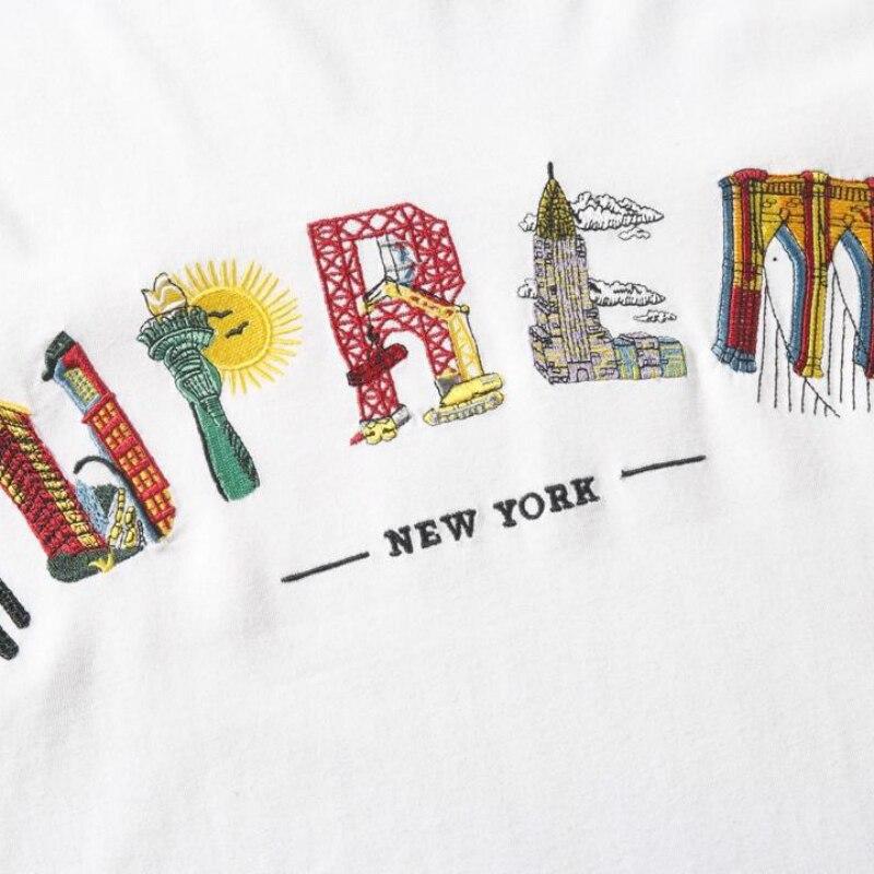 19ss S/Sw City Arc Tee Embroidery Tee 1:1 Tshirts Men Women Streetwear Harajuku Summe Top Tee Vetements New York Tshirt