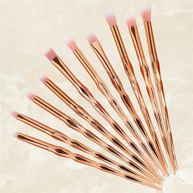 10Pcs Rose Gold Makeup Brushes Set Professional Nasal Shadow Eyeliner Eyebrow Brush Kits Diamond Shape Eyeshadow Brush Set