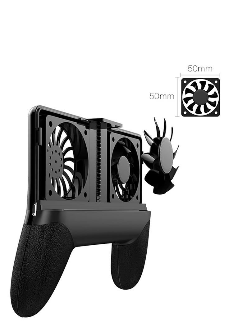 E&M 2000mAh Game Pad Handle Cooling Fan Stand Ring Heat Radiator USB Power Bank Battery Ultra Silent Cooler Holder For Phone