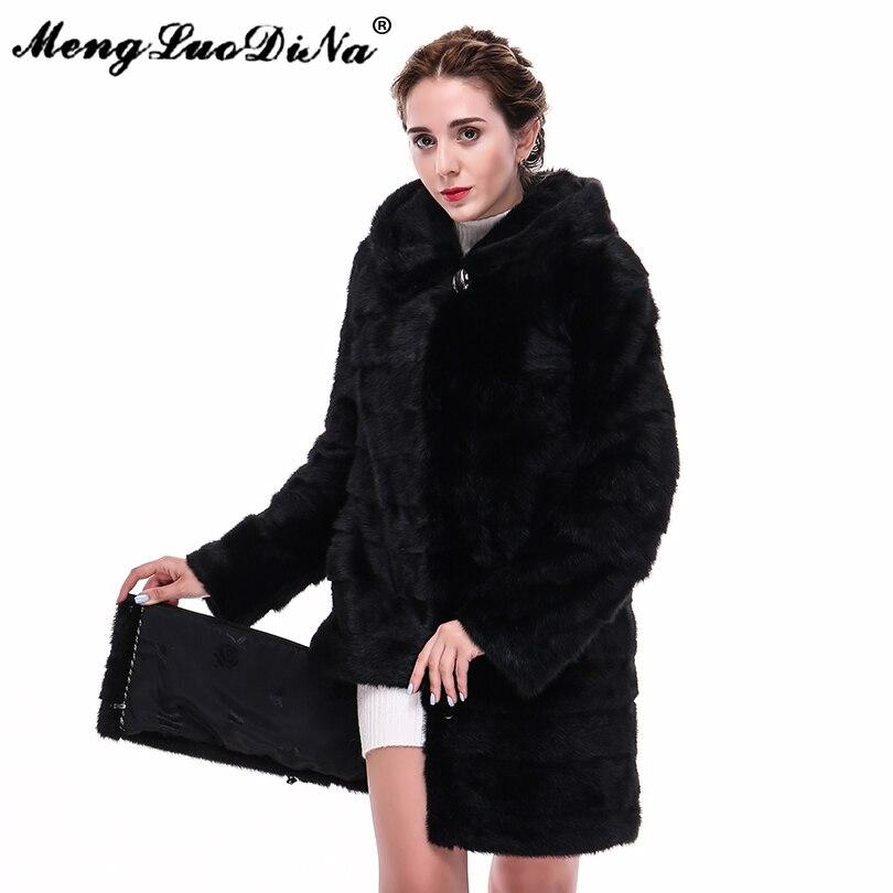 90 cm mujeres desmontables abrigo de piel de visón cálido con capucha de piel Natural Outwear mujeres Chaqueta larga calle Outwear negro Sudadera con capucha ropa de moda