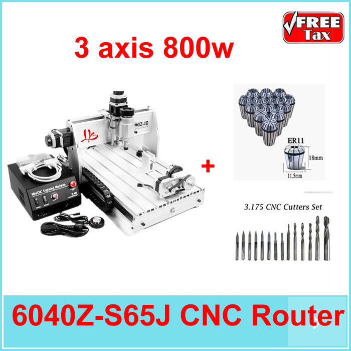 EU no Tax! 6040Z-S65J 3 axis 800W water cooled spindle turning lathe cnc machining 6040 cnc router цены