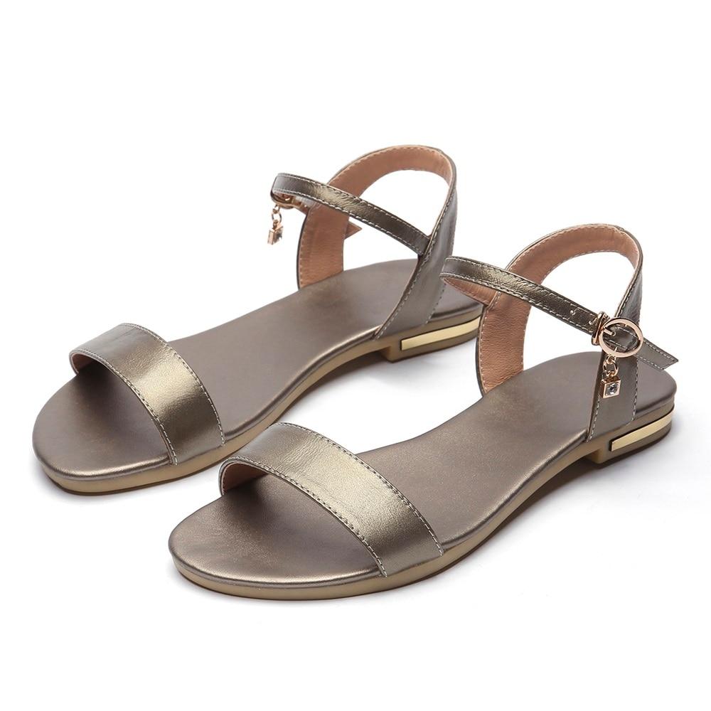 HTB1XBGNoWSWBuNjSsrbq6y0mVXae MORAZORA Plus size 34-46 New genuine leather sandals women shoes fashion flat sandals cow leather summer rhinestone ladies shoes