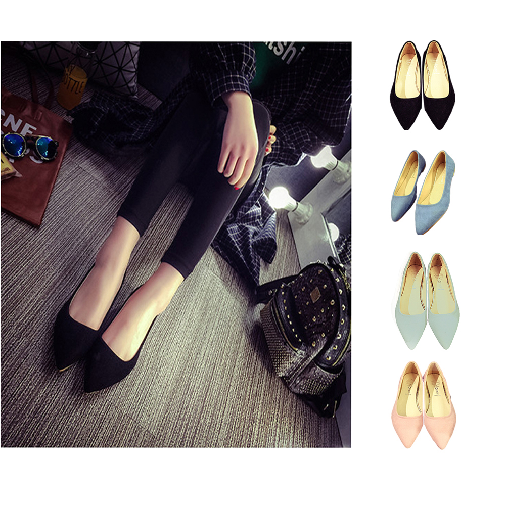 A-LING Womens Comfortable Pointed Toe Ballerina Ballet Slip-on Dress Flat Shoes