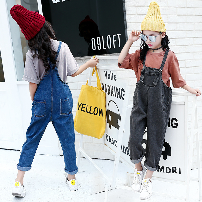 Autumn New Girls Child Restore Ancient Wind Fashion Solid Color Long T-shirts+ Cowboy Salopettes Two Pieces Kids Clothing Sets autumn new pattern girl range child street wind cowboy salopettes cartoon t shirts suit 2 pieces kids clothing