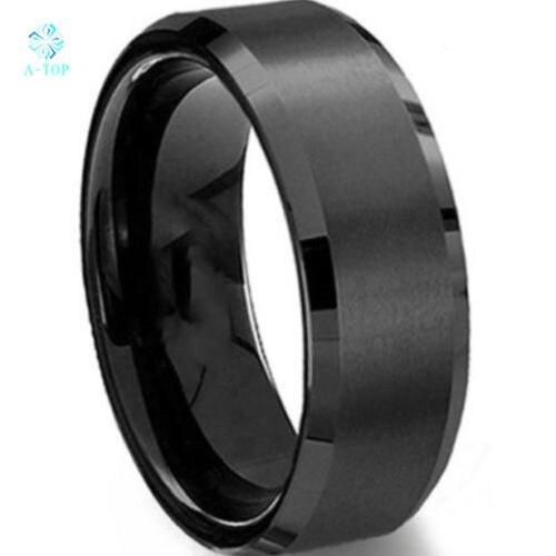 Новый мужской черный Кисть центр вольфрама кольца из карбида обещание кольцо обручальное 8 мм Бесплатная доставка