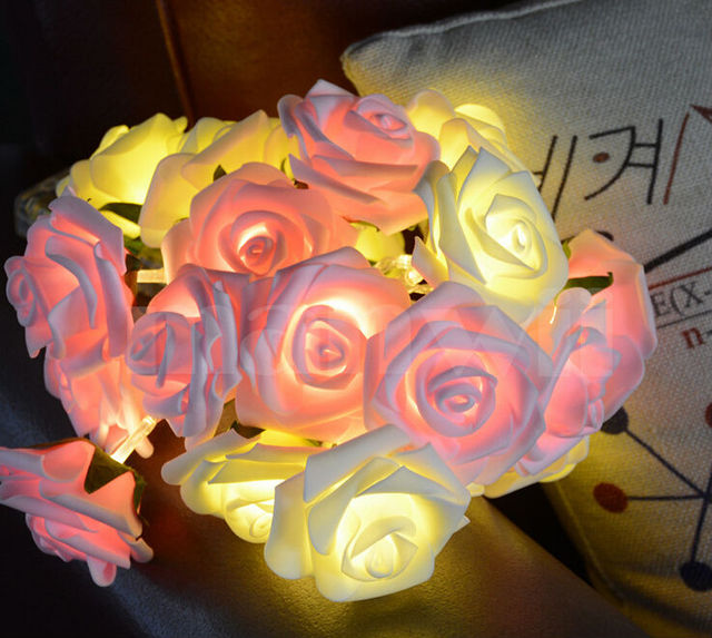 Double Color LED rose lighting with battery box 20leds Novelty Rose Flower Fairy String Light Wedding Party home Decoration lamp