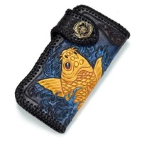 Hand Engraved Carp Fish Designer Genuine Cow Leather Noble Blue Men's Long Card Holder Man Wallet Woven Border Male Clutch Purse