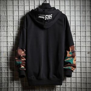 Image 3 - Camouflage Hip Hop Men Hoodie Autumn Cotton Black Male Sweatshirt Tops Soft Grey Hooded Pullovers Harajuku Loose Streetwear Coat