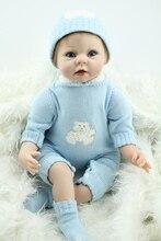 """55cm 22"""" silicone reborn dollsfor sale cloth body blue eyes reborn babies girls birthday gift  brinquedos menino"""