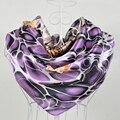 Moda 90*90 cm Light Purple 100% Seda Amoreira Feminino Lenço De Seda Quadrado Impresso, Moda 100% Crepe De Seda cetim Mulheres Lenços
