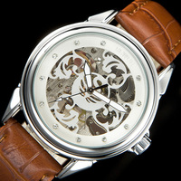 SEWOR Mens Watch Mechanical Hand Wind Women Rhineston Watches Steampunk Skeleton Clock