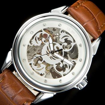 SEWOR męskie zegarki mechaniczne ręcznie nakręcany kobiety Rhineston zegarki Steampunk szkielet zegar C896 tanie i dobre opinie Nie wodoodporne Klamra Sukienka Mechaniczna Ręka Wiatr 25cm STAINLESS STEEL Odporny na wstrząsy ROUND 20mm 10mm Hardlex