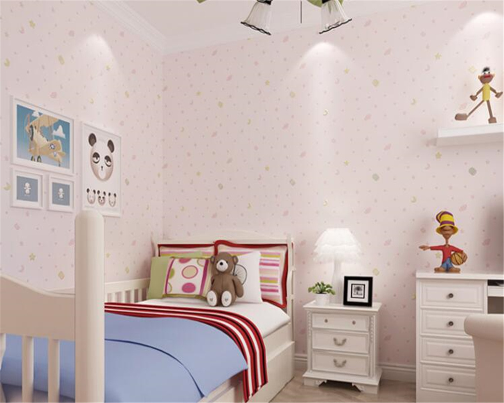 Us 30 38 39 Off Beibehang Warm And Lovely Cartoon Sprinkle Gold Stars Moon Nonwovens Wallpaper Boy Bedroom Children Wall Paper In