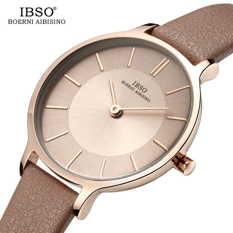 IBSO Brand 8 MM Ultra-Thin Women's Quartz Watch with Genuine Leather Brand Women Watches Simple Ladies Watch Montre Femme