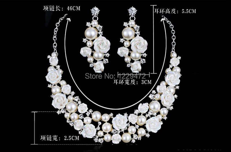 TREAZY Gorgeous Ceramic Flower Ivory Pearl Crystal Bridal Wedding Jewelry Set Fashion Necklace Earrings Set Women Jewelry
