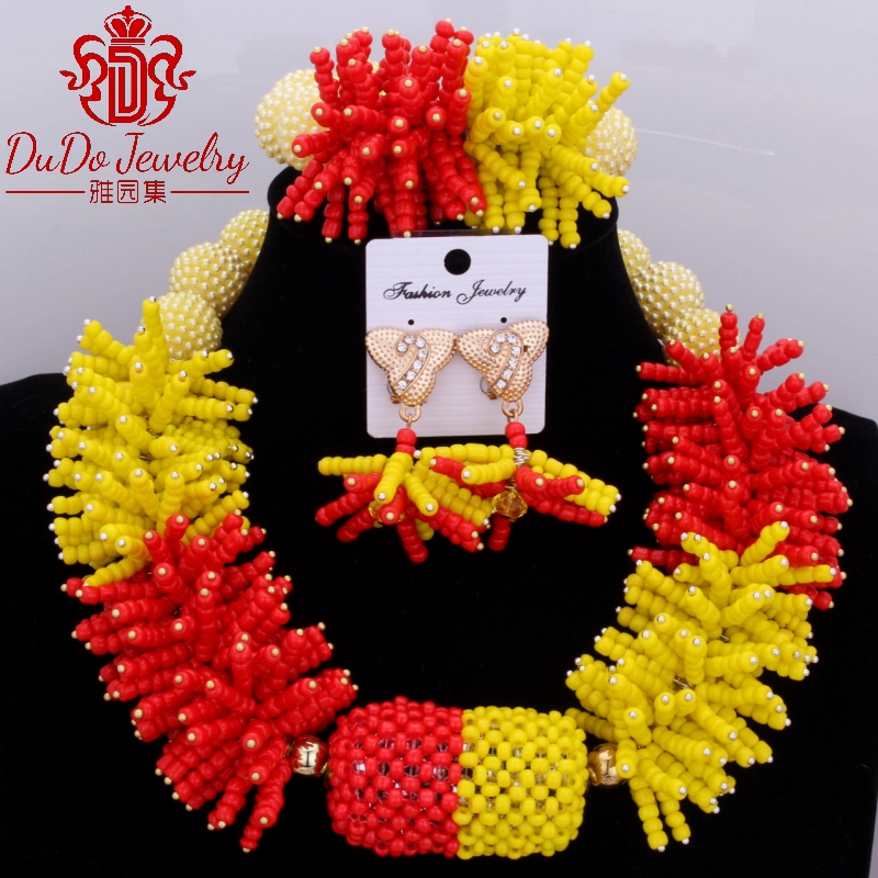 2017 Dubai Yellow And Red African Nigerian Jewelry Set Supplies Brand Ball beads For brides Choker Necklace Set Accessories 2017 Dubai Yellow And Red African Nigerian Jewelry Set Supplies Brand Ball beads For brides Choker Necklace Set Accessories